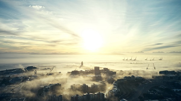 Shot of mist and clouds along the coast of Cape Town in South Africa
