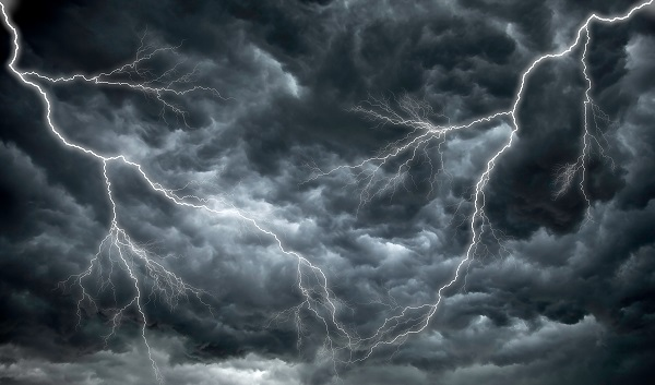 Dark clouds and lightning promise poor and dangerous weather.